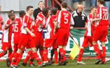 Sheridan is mobbed after scoring