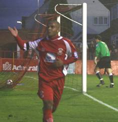 Simon Brown celebrates v Chester